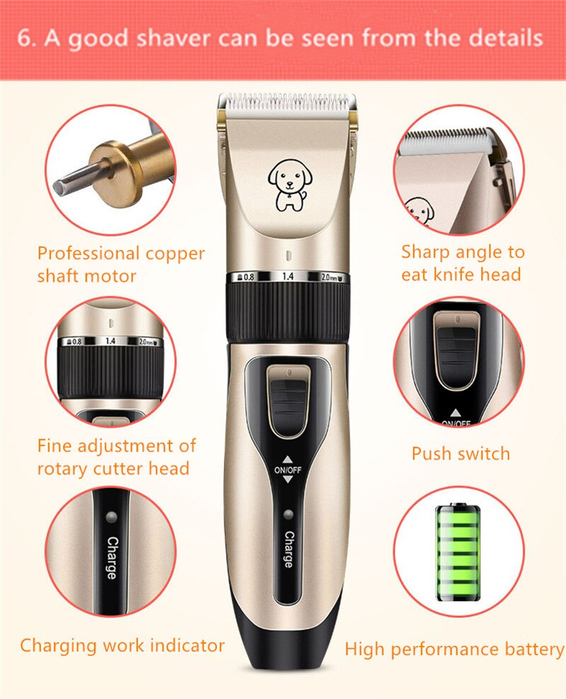 USB Rechargeable Electrical Dog Hair Trimmer Low-noise Cat Dog Hair Trimmer Labrador Long Hair Pet Dog Trimmer Pet Grooming Tool